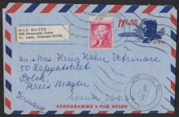 PF210     USA 1967  Saint Louis Aerogramme  - 11cKennedy Withe 2c Jefferson  To Germany - Storia Postale
