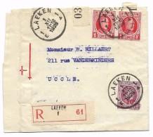 Recom. LAEKEN 1. XII. 1928  HOUYOUX   2 X 1 Fr Nr 256 + 0,10 Fr Nr 246 Naar UCCLE - 1922-1927 Houyoux