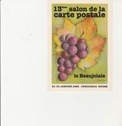 VENISSIEUX - 13 EME SALON DE LA CARTE POSTALE  -22-23 JANV 2000 - THEME / LE BEAUJOLAIS -DESSIN DE LILIANE ROUX - Collector Fairs & Bourses