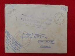 LETTRE GRIFFE ENGAGEZ VOUS RENGAGEZ VOUS AU 10 BATAILLON DU GENIE LA VALBONNE A PORT LYAUTEY - 1921-1960: Modern Period