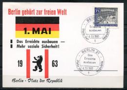 """Germany Berlin 1963 Sonderkarte 1.Mai Demostration Mit Mi.Nr.220 U.SST""""Berlin 21-Das Erreichte Ausbauen """" 1Beleg - Manifestazioni"""