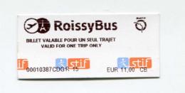 """Ticket De Bus RATP """"RoissyBus"""" Navette Paris - Aéroport Roissy-Charles-De-Gaulle"""" Bus Ticket - Autobus"""