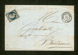 Calvados-Lettre Avec N°14 Oblitéré Petit Chiffre 3431 De Trouville Sur Mer - 1849-1876: Classic Period