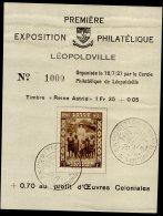 CONGO FEUILLET EXPO PHILATELIQUE LEOPOLDVILLE REINE ASTRID 1937 - Y
