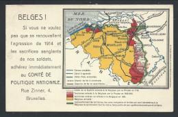 CPA - Carte Géographique Belgique - Comité De Politique Nationale - Patriotique - Militaria   // - Patriotic