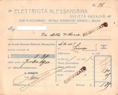 "05755 ""ALESSANDRIA - ELETTRICITA´ ALESSANDRINA S.A. - RICEVUTA SETTEMBRE 1910"" DOCUM. ORIG. - Italia"