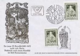Austria 1980 FDC 1500th Birth Anniversary Of Saint Benedict Patron Of Europe - Cristianismo