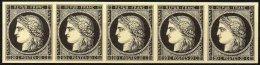 FRANCE - FAC-SIMILE Sur Carton D'une Bande De 5 Du 20 C. Noir - 1849-1850 Cérès