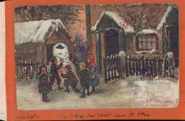 CPA PLAISIR D'HIVER  Le Bohomme De Neige Contruit Par  Les Enfants  Illustration  Signée  à Identifier AV 2016 1221 - Ilustradores & Fotógrafos