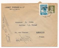 """TURQUIE - Enveloppe En Tête """"Lebet Frères & Cie Istambul """" Depuis ISTAMBUL - Affranchissement Composé - 1921-... République"""