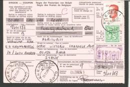 BEL4---  STORIA POSTALE, BELGIO--BELGIQUE,, RICEVUTA PACCO POSTALE--EKEREN--ROMA, ITALY, - Documenti Della Posta