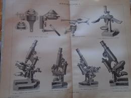 D137989.56 Microscopes - Zeiss  Ranvier Abbe Reichert Leitz Nachet Hungary Pallas Lexikon Print Engravings  Ca 1890's - Estampes & Gravures