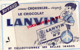 21 - DIJON - BUVARD CHOCOLAT LANVIN - A CROQUER N° 7- AVION L' OISEAU BLANC - AVIATION - Cocoa & Chocolat