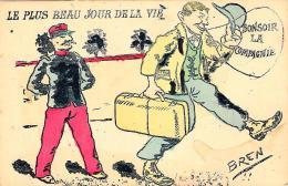 [DC2978] CPA - HUMOR - LE PLUS BEAU JOUR DE LA VIE - BONSOIR LA COMPAGNIE - FIRMATA BREN - Non Viaggiata - Old Postcard - Humor