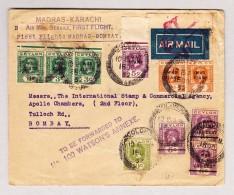 Ceylan 15.10.1932 Colombo 1. Flug Madras-Bombay Brief Nach Bombay Mit War Stamp - Ceylan (...-1947)