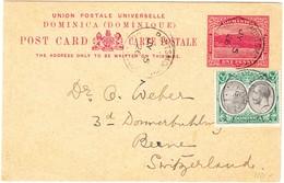 Dominica 5.7.1926 Porthsmouth Ganzsache Mit Zusatzfrankatur Nach Bern - Dominique (...-1978)