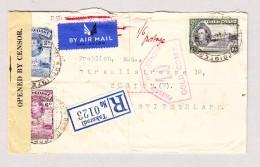 Gold Coast 1940 R-Brief Aus Takoradi über Accra, Madrid Nach Zürich  CH Interessanter Zensurbrief - Côte D'Or (...-1957)