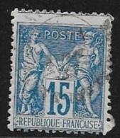 N° 90  FRANCE - OBLITERE  -  SAGE 15 BLEU -  Decallage Haut -  1877/1881 - 1876-1898 Sage (Type II)