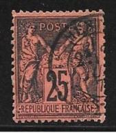 N° 91  FRANCE - OBLITERE  -  SAGE 25 NOIR SUR LAQUE ROUGE -  1877/1881 - 1876-1898 Sage (Type II)