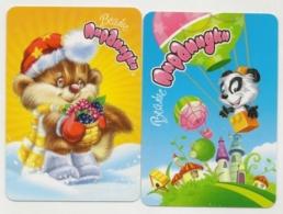Pocket Calendar Russia - 2010 - 2 Pcs. - Fantasy Animals - A Hedgehog - Squirrel - Candy - Toys - Advertising - Calendarios