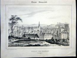 24 DORDOGNE  SARLAT   VUE CAVALIERE   BELLE LITHOGRAPHIE ORIGINALE DE CETTE VILLE DU PERIGORD 1844 GUYENNE - Estampes & Gravures