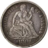 États-Unis, Seated Liberty Dime, 1891, Philadelphia, TTB, KM:A92 - Federal Issues