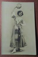 Antique Russian Photo Postcard Before 1917 LINA CAVALIERI Opera Singer Italian Costume Performance Tarantella, Drum. - Opera