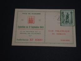 BELGIQUE - Entier Postal De Waremme En 1943 ( Avec Timbre En Plus) - A Voir - L 85 - Illustrat. Cards