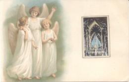 TRIO DE ANGELES GUARDIANES Y VIRGEN DE LUJAN CPA CIRCULEE 1907 L'ARGENTINE RARE PRECURSEUR - Engelen