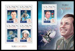 SOLOMON Isl. 2014 - Yuri Gagarin, Space - YT 2140-3 + BF286 ; CV = 27 €