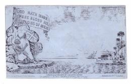 """GB 1840 DERADEMAEKER Mulready Karikatur """"GOD HATH MADE OP ONE BLOOD ALL NATIONS OF MEN"""" Ungebraucht - 1840 Mulready-Umschläge"""