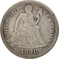 États-Unis, Seated Liberty Dime, 1890, Philadelphia, B+, KM:A92 - Federal Issues