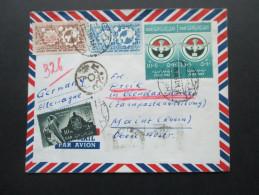 Ägypten Luftpostbrief Schöne Buntfrankatur! Viele Stempel. Interessanter Beleg - Covers & Documents