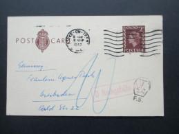GB Ganzsache 1957 Stoke On Trent Nach Wiesbaden. Mit Vermerk / Stempel Nachgebühr. Tax Stempel - 1952-.... (Elizabeth II)