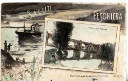SALUTI DA PESCHIERA DEL GARDA - PONTE FERROVIA - FORMATO PICCOLO - VIAGGIATA PRIMI 900 - ED. E. AVANZINI - Verona