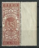 ESPAÑA COLONIAS GIRO ISLA DE PUERTO RICO  30 Cts. De Peso ** Mnh - Puerto Rico