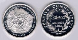 AC - MEHMED THE CONQUEROR 700th ANNIVERSARY OF OTTOMAN EMPIRE SERIES # 3 COMMEMORATIVE SILVER COIN 1999 TURKEY PROOF UNC - Turkey