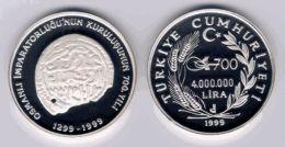 AC - FIRST COIN OF OTTOMAN EMPIRE 700th ANNIVERSARY OF OTTOMAN EMPIRE SERIES # 1 COM SILVER COIN 1999 TURKEY PROOF UNC - Türkei