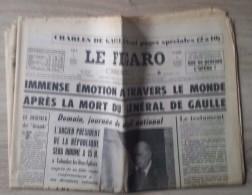 Journal Mort Du Général De Gaulle - Le Figaro édition De Paris Du 11 Novembre 1970. - Journaux - Quotidiens