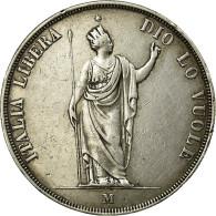 Monnaie, États Italiens, LOMBARDY-VENETIA, 5 Lire, 1848, Milan, TTB+, Argent - Temporary Coins