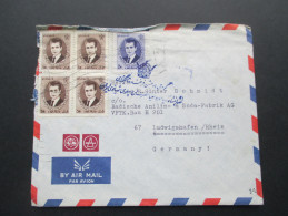 Iran 1967 Beleg Nach Ludwigshafen MiF. Stempel Mit Krone!! Luftpost - Iran