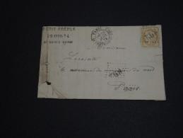 FRANCE - Lettre Avec Texte De Paris - Oblitération Paris Chapelle St Denis 1874 Pour Paris - A Voir - L 86 - Marcophilie (Lettres)