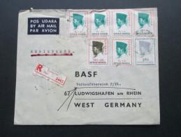 Luftpostbrief Indonesien 1965 R-Brief Registered Djakarta Dkt 2442. BASF Beratungsstelle Indosesien - Indonesien