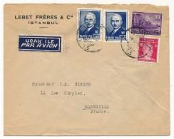 """TURQUIE - Enveloppe En Tête """"Lebet Frères & Cie Istambul """" Depuis ISTAMBUL - Affranchissement Composé - 1921-... Republiek"""