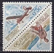 Congo, 1961 - 50c Messenger, 50c Broussard Plane, Pair - Nr.J34a MNH** - Congo - Brazzaville