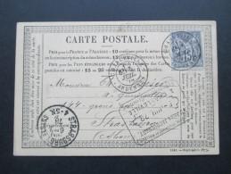 Frankreich 1878 Carte Postale 15 C EF Nr. 61 II. Charville Ardennes Nach Strassburg Elsass. Jules Jacquemart - 1871-1875 Ceres
