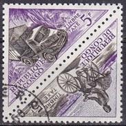 Congo, 1961 - 5f Bicyclist, 5f Railertruck, Pair - Nr.J37a Usato° - Congo - Brazzaville
