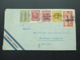 Guatemala 1935 MiF Luftpost Marken Mit Aufdruck Aereo Exterior 1934. Stark Verzähnte Marke!! Toller Beleg! - Guatemala