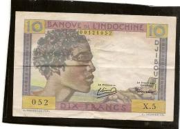 DJIBOUTI Billet BANQUE DE L´INDOCHINE DJIBOUTI 10 Dix FRANCS Type Chamelier- Billet Plié En 4 Plusieurs Fois.RRRR - Djibouti
