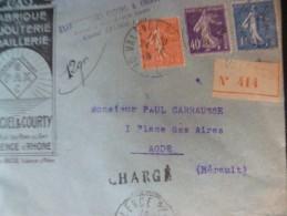 Lettre France Pub Bijouterie  Illustrée Garciel   Courty Valence Sur Rhône Recommandé Pour Agde Avec 3 TP Semeuse 1928 - Marcofilie (Brieven)
